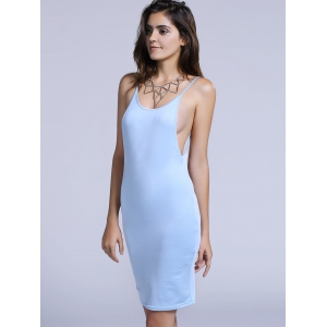 Charming Spaghetti Strap Backless Solid Color Bodycon Dress For Women -