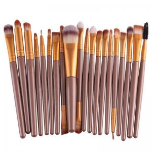 Stylish 20 Pcs Plastic Handle Nylon Makeup Brushes Set - Coffee