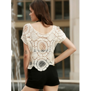 Fashionable Short Sleeve Crochet Hollow Out Knitting Cover-Up For Women -