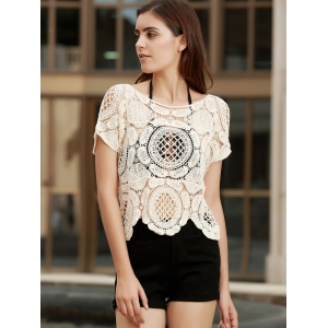 Fashionable Short Sleeve Crochet Hollow Out Knitting Cover-Up For Women - APRICOT ONE SIZE(FIT SIZE XS TO M)