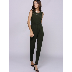 Casual Jewel Collar Sleeveless Zipper Embellished Jumpsuit For Women - ARMY GREEN S