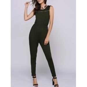 Casual Jewel Collar Sleeveless Zipper Embellished Jumpsuit For Women