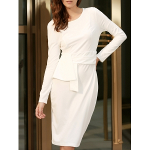 Chic Round Collar Long Sleeve Pure Color Bodycon Women's Dress