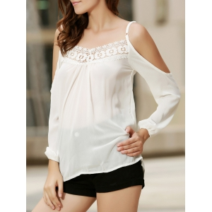 Sexy Strappy Hollow Out Lace Splicing  Long Sleeve Blouse For Women