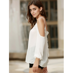Sexy Strappy Hollow Out Lace Splicing  Long Sleeve Blouse For Women - WHITE XL