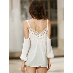 Sexy Strappy Hollow Out Lace Splicing  Long Sleeve Blouse For Women -