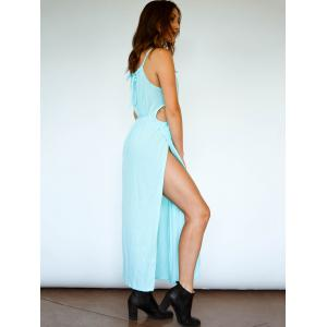 Spaghetti Strap Thigh High Split Maxi Dress - LIGHT BLUE S