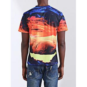 Casual Printing Round Collar Short Sleeves T-Shirt For Men - COLORMIX L