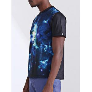 Fashion Printing Round Collar Short Sleeves T-Shirt For Men - BLUE XL