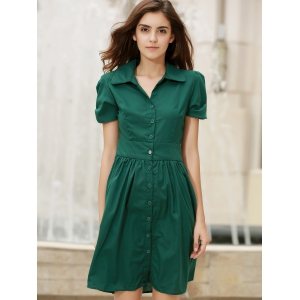 Vintage Turn-Down Collar Short Sleeve Single-Breasted Lace-Up Women's Dress -