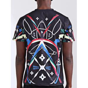 Round Neck Stylish 3D Symmetrical Geometric and Number Print Short Sleeve T-Shirt For Men -