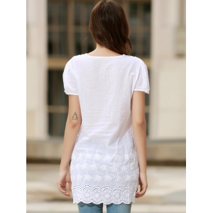Sexy Plunging Neck Short Sleeve Laciness Solid Color Women's Dress - WHITE L