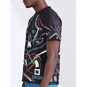 Round Neck Stylish 3D Spaceship and Number Print Short Sleeve T-Shirt For Men - COLORMIX XL