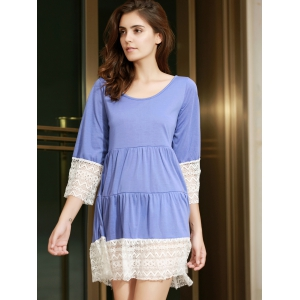 Trendy Scoop Neck 3/4 Sleeve Lace Splicing Loose-Fitting Women's Dress -