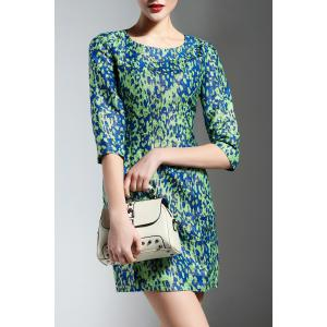 Jewel Collar Print Dress -