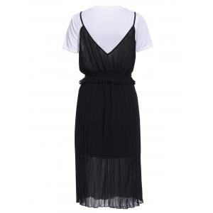 Stunning Solid Color T-Shirt and Pleated Spaghetti Straps Dress Set For Women -