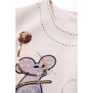 Round Neck Mouse Pattern Sequin Embellished Dress -