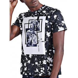 Round Neck Stylish 3D Photos Print Splash-Ink Short Sleeve T-Shirt For Men - COLORMIX 2XL