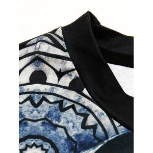 Round Neck Stylish 3D Abstract Figure and Letter Print Short Sleeve T-Shirt For Men - COLORMIX 2XL