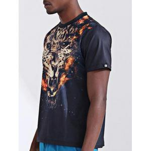 Round Neck Stylish 3D Leopard Print Short Sleeve T-Shirt For Men -