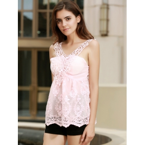 V Neck Embroidered Lace Tank Top - PINK XXS