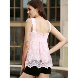V Neck Embroidered Lace Tank Top -