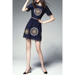 Round Collar Embroidered Beaded Mini Dress -
