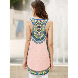 Vintage Scoop Neck Sleeveless Floral Printed Women's Mini Dress