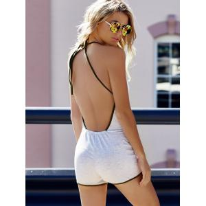 Women's Stylish Sleeveless Backless Halter Romper - GRAY S