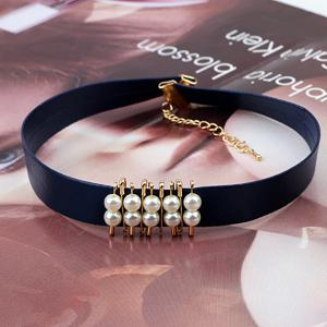 Faux Pearl PU Leather Choker Necklace -
