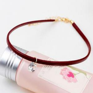 Faux Crystal PU Leather Choker -