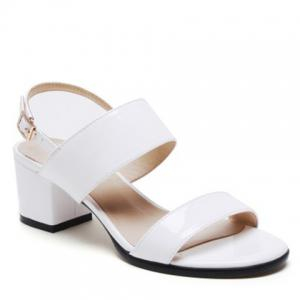 Leisure Patent Leather and Chunky Heel Design Sandals For Women - White - 38