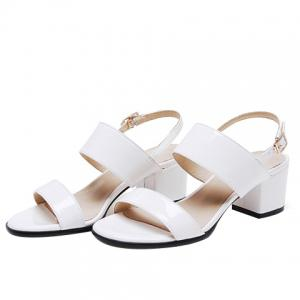 Leisure Patent Leather and Chunky Heel Design Sandals For Women - WHITE 38