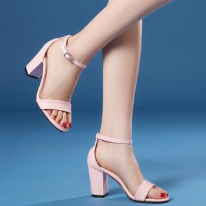 Laconic Ankle Strap and Chunky Heel Design Sandals For Women -
