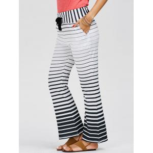 Striped Wide Leg Yoga Pants - White - S