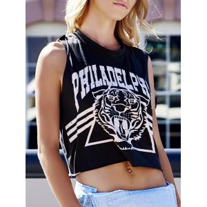 Tiger Letter Print Cotton Cropped Tank Top - Deep Gray - One Size