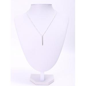 Trendy Women's Solid Color Stick Pendant Necklace - Silver