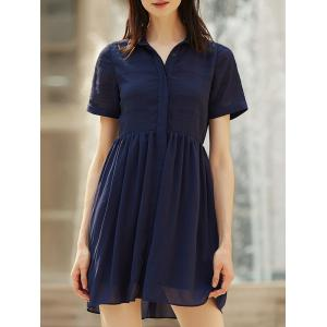 Stylish Turn-Down Collar Short Sleeve Chiffon Shirt Dress For Women - Purplish Blue - S