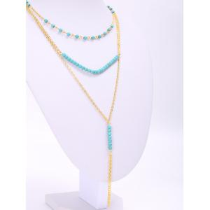 Trendy Turquoise Beads Tassel Layered Necklace For Women -