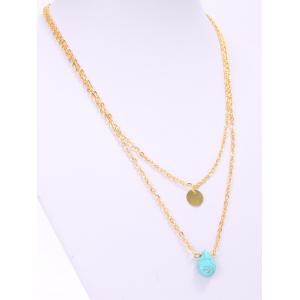 Trendy Waterdrop Shape Turquoise Double Layered Necklace For Women -