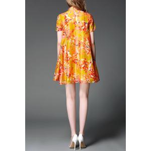 Stand Collar Button Design Floral Print Dress -
