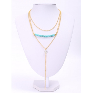 Delicate Turquoise Layered Tassel Necklace For Women