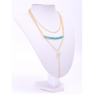 Delicate Turquoise Layered Tassel Necklace For Women - GOLDEN