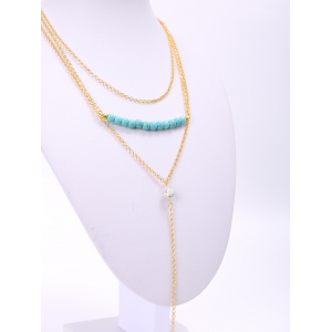 Delicate Turquoise Layered Tassel Necklace For Women -