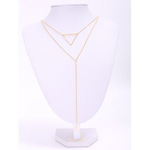 Charming Multilayered Solid Color Triangle Sweater Chain For Women