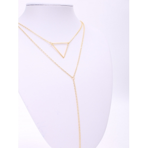 Charming Multilayered Solid Color Triangle Sweater Chain For Women - GOLDEN