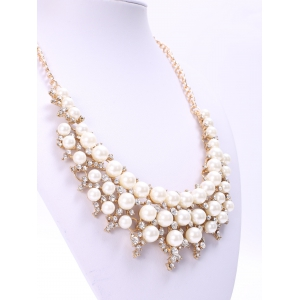 Elegant Three-Layered Faux Pearl Rhinestone Necklace For Women -