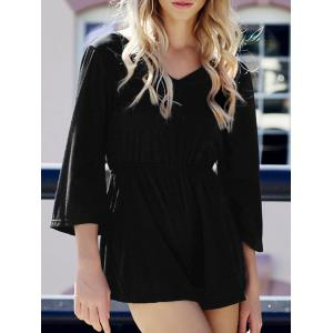 Flare Sleeve Backless V Neck Romper