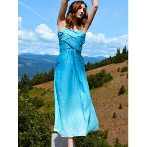 Ombre Maxi Tube Bandage Cocktail Holiday Dress - AZURE M