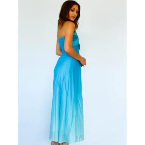 Strapless Bandeau Ombre Bandage Maxi Holiday Dress -